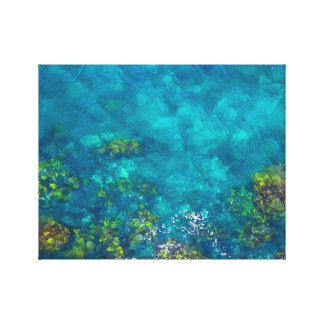 Green and Brown in the Aqua Blue Sea Canvas Prints