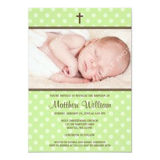 Green and Brown Polka Dot Cross Boy Photo Baptism Card