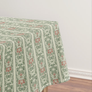 Green and brown stripe floral pattern tablecloth