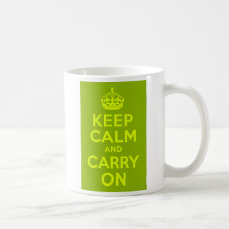 Green and Chartreuse Keep Calm and Carry On Coffee Mug