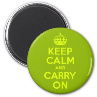 Green and Chartreuse Keep Calm and Carry On Magnet