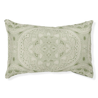 Green and Cream Henna Style Mandala Pet Bed