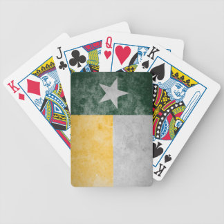 Green and Gold Grunge Texas Flag Playing Cards