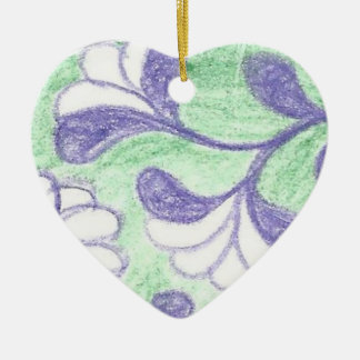 Green and Lavendar Swooping Loop Flower Cameo Christmas Ornament
