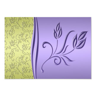 Green and Lavender Floral Wedding Invitation