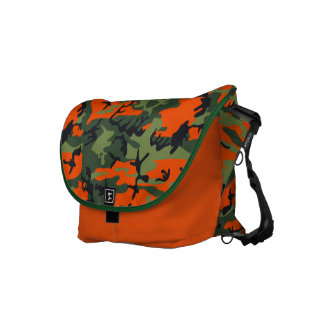 Green and orange camo print messenger bag