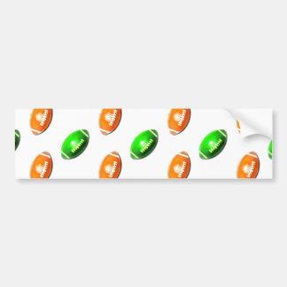 Green and Orange Football Pattern Bumper Sticker