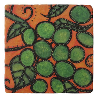 Green And Orange Modern Abstract Grapes Trivet