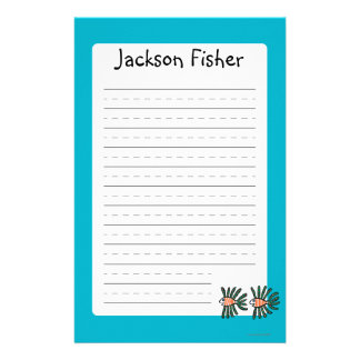 Green and Orange Twin Fin Fish Custom Stationery