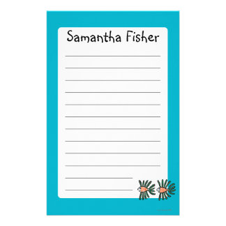 Green and Orange Twin Fin Fish Customised Stationery