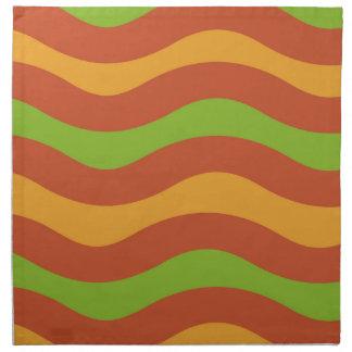 Green and Orange Wavy Stripes Napkin