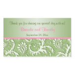 Green and Pink Damask Wedding Favour Tag