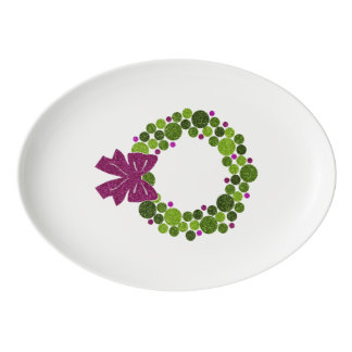 Green and Pink Glittery Wreath of Ornaments Porcelain Serving Platter