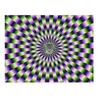 Green and Purple Links + Cat Postcard