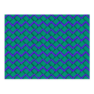 Green and Purple Paper Zig Zag Postcard