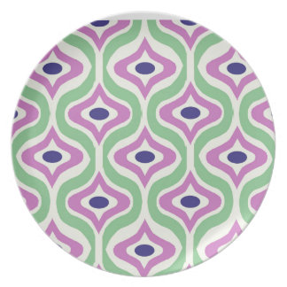 Green and Purple Retro Pattern Dinner Plate