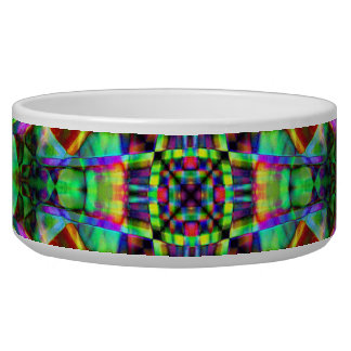 Green and Rainbow Mandala Pattern Pet Bowls