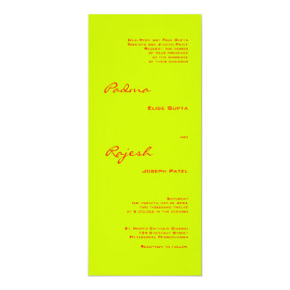 Green and Red Paisley Indian Wedding 10 Cm X 24 Cm Invitation Card