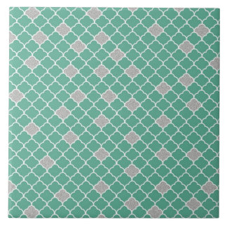Green and Silver Moroccan Large Square Tile