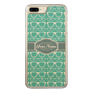 Green and Teal Geek Glasses Carved iPhone 8 Plus/7 Plus Case