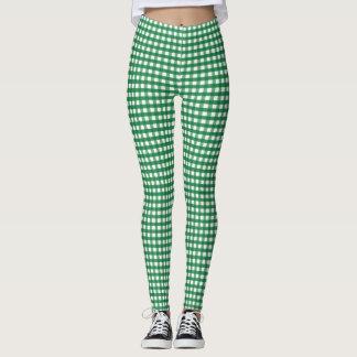 Green and White Checkered Leggings