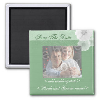 Green And White Floral Save The Date Photo Magnet