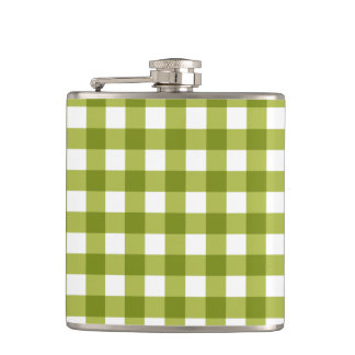Green and White Gingham Pattern Hip Flask