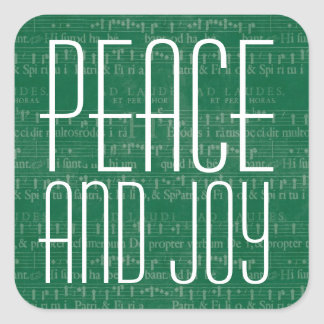 Green  and White Peace and Joy Typography Square Sticker