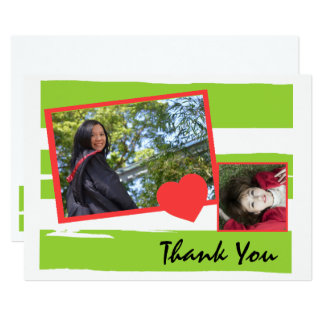 Green and White Photo Graduation Thank You Card