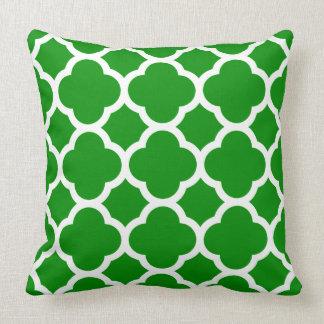 Green and White Quatrefoil Pattern Throw Pillow