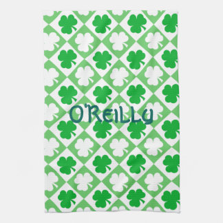 Green and White Shamrocks Plus Name St Pats Day Tea Towel
