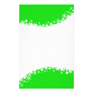 Green and White Snowflake Stationery