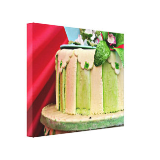 Green and white stripped wedding cake canvas print