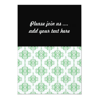 Green and White Victorian Style Damask 13 Cm X 18 Cm Invitation Card