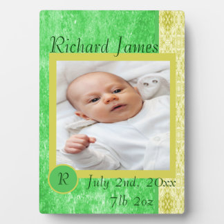 Green and Yellow Baby Boy Birth Announcement Plaque