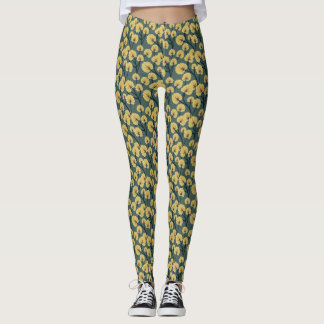 Green and yellow Cottonfield flower print leggins Leggings