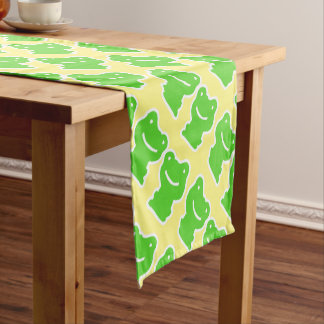 Green And Yellow Cute Cartoon Frogs Short Table Runner