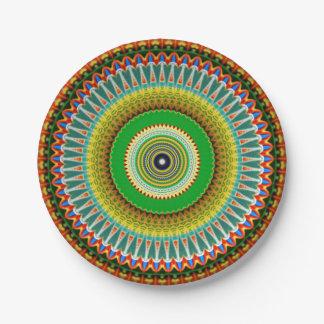 Green and Yellow Kaleidoscope Mandala Paper Plate
