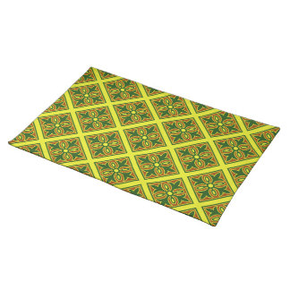 Green And Yellow Spanish Tile Pattern Placemat