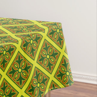 Green And Yellow Spanish Tile Pattern  Tablecloth