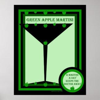 Green Apple Martini Poster