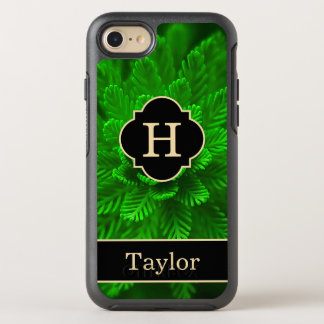 Green Aquatic Plant Monogram With Name Tough OtterBox Symmetry iPhone 8/7 Case
