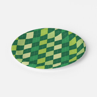 Green argyle pattern paper plate