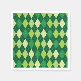 Green argyle pattern paper serviettes