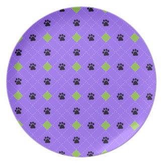 Green Argyle Paw Prints Plates