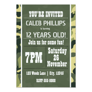 Green Army Camouflage Birthday Party Invitations