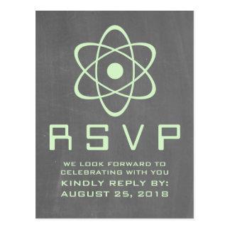 Green Atomic Chalkboard RSVP Postcard