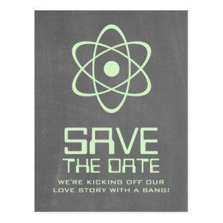 Green Atomic Chalkboard Save the Date Postcard