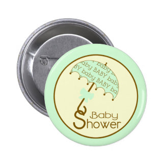 Green Baby Shower Button - Umbrella