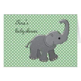 green baby shower elephant cards